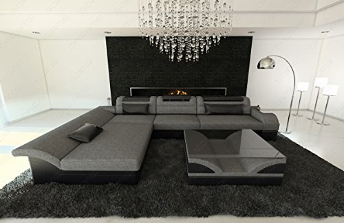 stoff mix sofa monza l form mit led grau schwarz m bel24. Black Bedroom Furniture Sets. Home Design Ideas