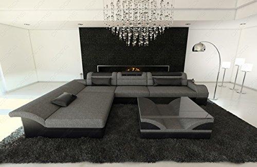Stoff Mix Sofa MONZA L-Form mit LED grau-schwarz