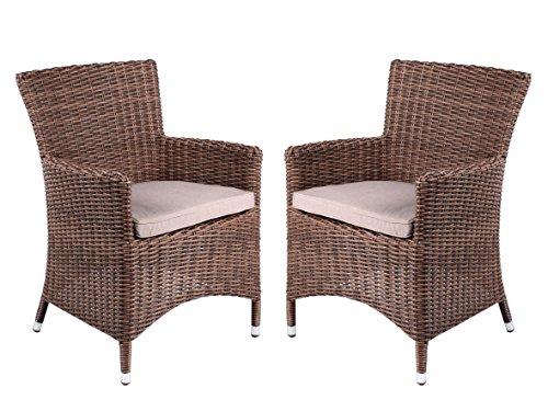 strandgut07 2teilig set polyrattan sessel braun inkl. Black Bedroom Furniture Sets. Home Design Ideas