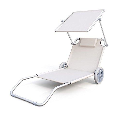 Strandliege Strandrolli Sonnenliege Trolley Liege klappbar Alu Rolli mit Dach