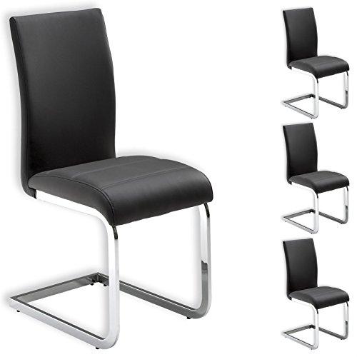Stuhl Schwingstuhl Esszimmerstuhl Sitzgelegenheit LETICIA, grau, im 4er Pack