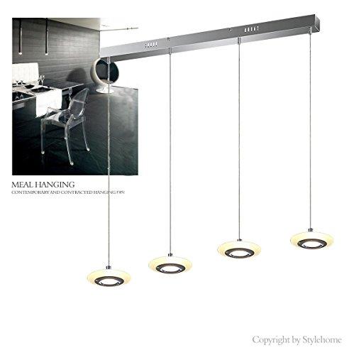 Stylehome® LED Hängelampe Höhenverstellbar Kronleuchte Hängeleuchte Deckenlampe Esszimmer Wohnzimmer 4829-04A Chrom Warmweiss (A++)