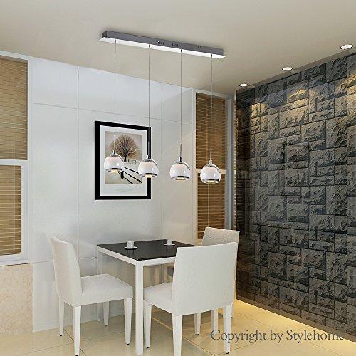 Stylehome® LED Hängelampe Höhenverstellbar Kronleuchte Hängeleuchte Deckenlampe Esszimmer Wohnzimmer Chrom 4338-04A-24W Warmweiss