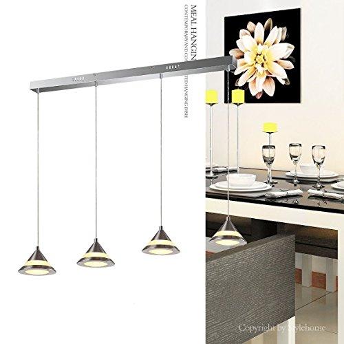 Stylehome® LED kristal Hängelampe Höhenverstellbar Kronleuchte Hängeleuchte Deckenlampe Esszimmer Wohnzimmer 4359-04A-20W Warmweiss (A++)