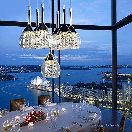 Stylehome® LED kristal Hängelampe Höhenverstellbar Kronleuchte Hängeleuchte Deckenlampe Esszimmer Wohnzimmer 4822-07A Chrom 35W Warmweiss (A++)