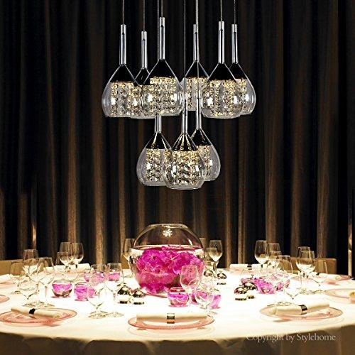 Stylehome® LED kristal Hängelampe Höhenverstellbar Kronleuchte Hängeleuchte Deckenlampe Esszimmer Wohnzimmer 4822-09A Chrom 45W Warmweiss (A++)