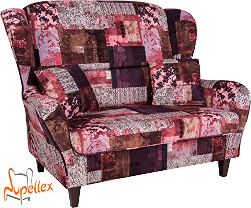 Supellex, Sofa / Ohrensessel Sofia für zwei Personen, Dessin: Patchwork, floral, rot