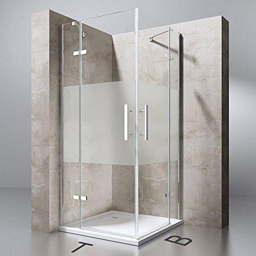 TBH: 100x100x195 cm Design Duschabtrennung Ravenna30MS, ESG-Sicherheitsglas Milchglas Streifen, inkl. NANO-Beschichtung