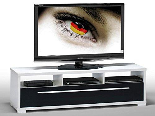 """TV Bank Lowboard Board Unterschrank Tisch Fernsehschrank TV-Möbel """"Jake"""" (Weiß-schwarz/Hochglanz)"""