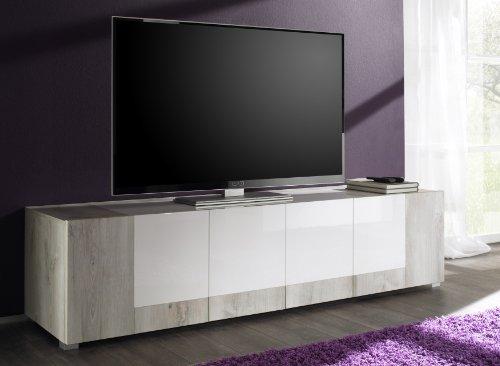 TV Bank Mars 4-türig, 190 x 48 x 50 cm, weiße Kiefer Nachbildung / lack weiß