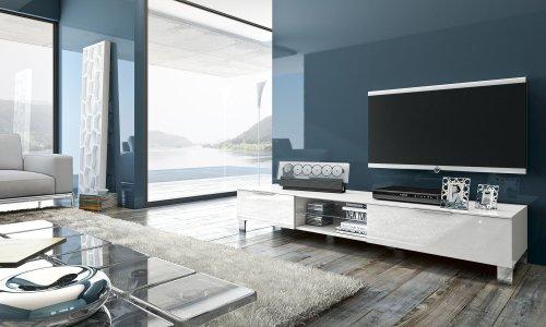 TV Bank Sola mit 2 Klapptüren, 180 x 31 x 44,50 cm, weiß hochglanz