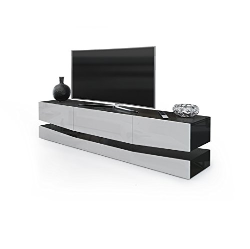 tv board lowboard city korpus in schwarz hochglanz fronten in wei hochglanz inkl led. Black Bedroom Furniture Sets. Home Design Ideas