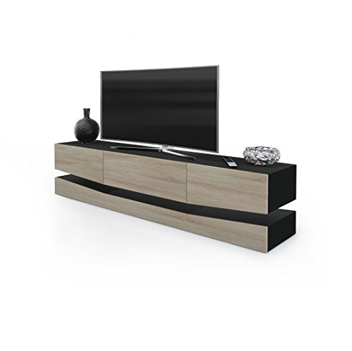 tv board lowboard city korpus in schwarz matt fronten in eiche s gerau m bel24. Black Bedroom Furniture Sets. Home Design Ideas