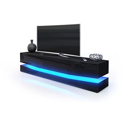 TV Board Lowboard City, Korpus in Schwarz matt / Fronten in Schwarz Hochglanz inkl. LED Beleuchtung