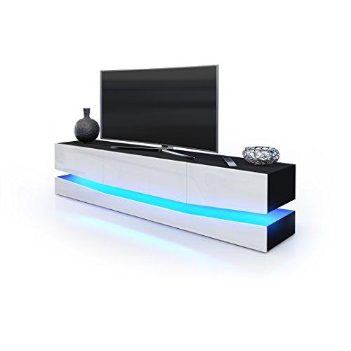 TV Board Lowboard City, Korpus in Schwarz matt / Fronten in Weiß Hochglanz inkl. LED Beleuchtung
