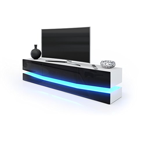 tv board lowboard city korpus in wei matt fronten in schwarz hochglanz inkl led beleuchtung. Black Bedroom Furniture Sets. Home Design Ideas