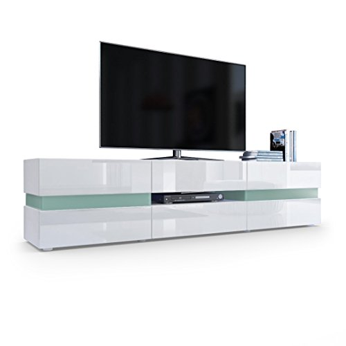 TV Board Lowboard Flow, Korpus in Weiß matt / Front in Weiß Hochglanz