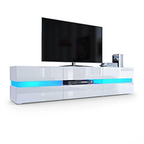 TV Board Lowboard Flow, Korpus in Weiß matt / Front in Weiß Hochglanz inkl. LED Beleuchtung