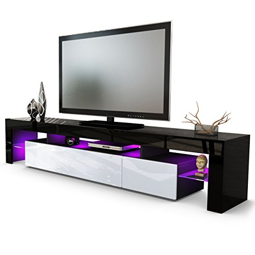 TV Board Lowboard Lima V2 in Schwarz / Weiß Hochglanz