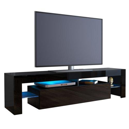 TV Board Lowboard Lima in Schwarz / Schwarz Hochglanz