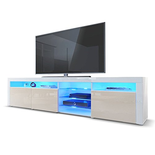 TV Board Lowboard Santa Fe in Weiß Hochglanz / Creme Hochglanz inkl. LED Beleuchtung