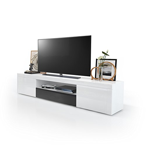 tv board lowboard santiago korpus in wei hochglanz fronten in wei hochglanz und schwarz. Black Bedroom Furniture Sets. Home Design Ideas