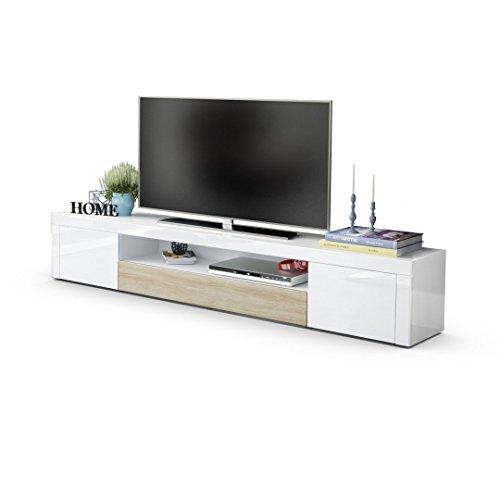 TV Board Lowboard Santiago V2, Korpus in Weiß Hochglanz / Fronten in Weiß Hochglanz und Eiche sägerau