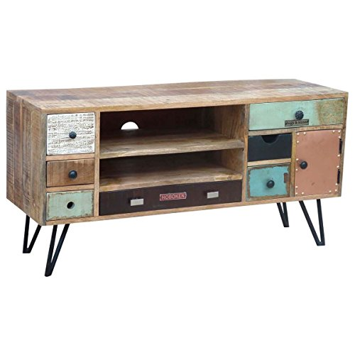 tv board lowboard tv bank stord vintage retro design holz massiv massivholz metall breite 120. Black Bedroom Furniture Sets. Home Design Ideas