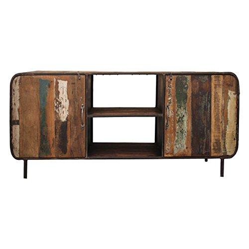 TV-Board Lowboard Vadso, Recyclingholz Massivholz Metall Bunt, Breite 160 cm, Tiefe 40 cm, Höhe 55 cm