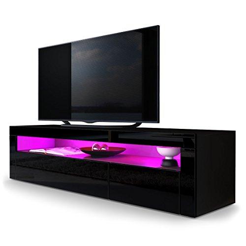 TV Board Lowboard Valencia in Schwarz matt / Schwarz Hochglanz / Schwarz Hochglanz