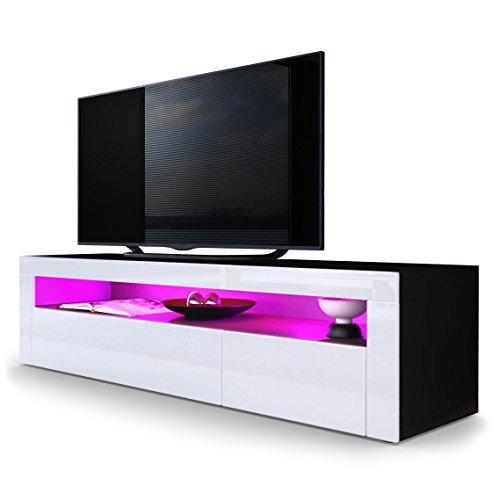 TV Board Lowboard Valencia in Schwarz matt / Weiß Hochglanz / Weiß Hochglanz