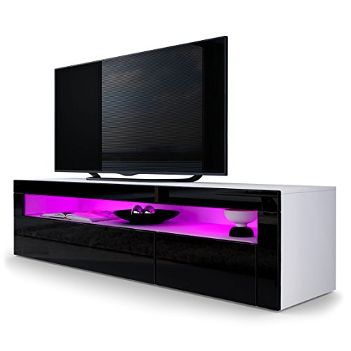 tv board lowboard valencia in wei matt schwarz. Black Bedroom Furniture Sets. Home Design Ideas