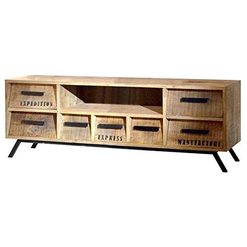 TV-Board TV-Bank Lowboard Romsdal, Retro Look, Holz Massivholz Natur, Breite 150 cm, Tiefe 40 cm, Höhe 52 cm