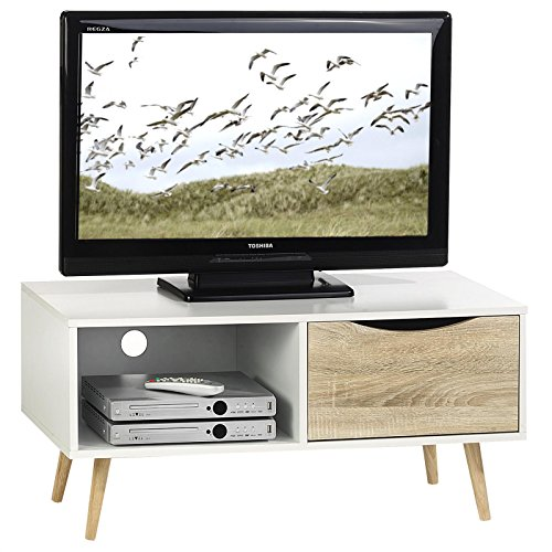 TV Kommode TV Rack Lowboard Hifi Möbel Fernsehtisch Beistelltisch Wohnzimmertisch IMPERIA, 1 Fach, 1 Schublade weiß/sonoma foliert