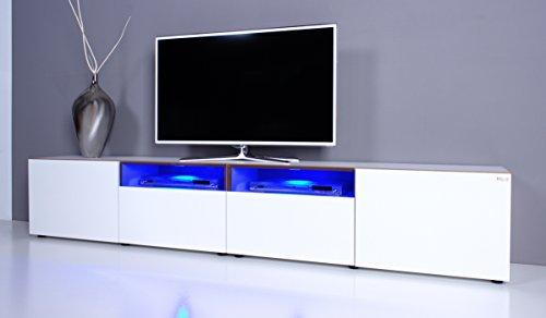 TV Lowboard NOOMO weiß Hochglanz inkl. RGB-LED Beleuchtung
