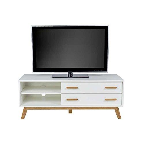 TV Lowboard im skandinavischem Stil Weiß Eiche Pharao24