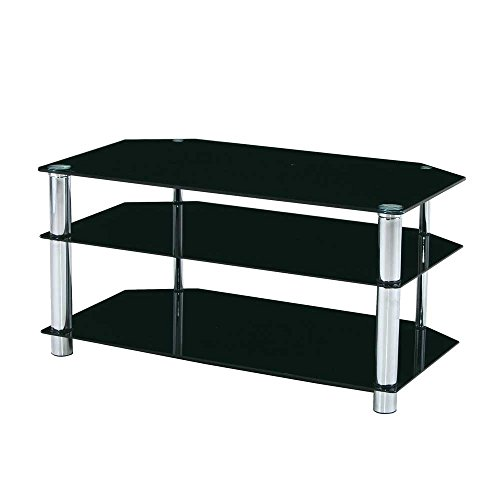 TV Rack in Schwarz Glas Pharao24
