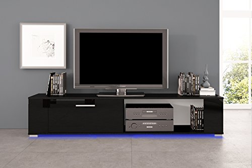 tv schrank orkus schwarz matt gl nzend schwarz mit led m bel24. Black Bedroom Furniture Sets. Home Design Ideas