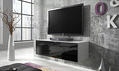 TV Schrank Simple (100 cm, weiß matt / glänzend schwarz)