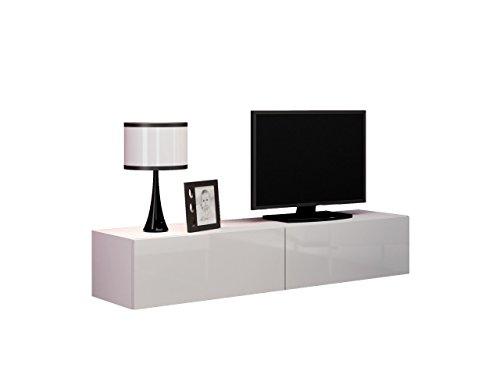 TV-Schrank-Volt-160-TV-Lowboard-mit-Grifflose-ffnen-Hngeschrank-Fernsehschrank-HochglanzWohnzimmer-Wei-Wei-Hochglanz-0