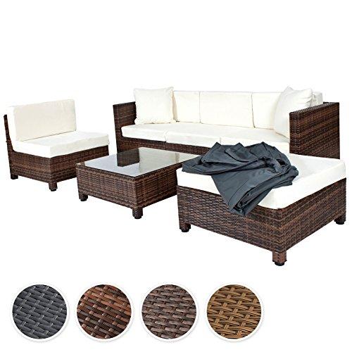 TecTake-Hochwertige-Aluminium-Luxus-Lounge-mit-2-Bezugssets-Poly-Rattan-Sitzgruppe-Sofa-Rattanmbel-Gartenmbel-mit-Edelstahlschrauben-diverse-Farben-Mixed-Braun-0