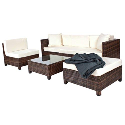 TecTake-Hochwertige-Aluminium-Luxus-Lounge-mit-2-Bezugssets-Rattanlounge-Set-Poly-Rattan-Sitzgruppe-Sofa-Rattanmbel-Gartenmbel-braun-0
