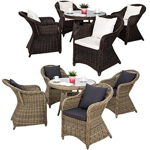 TecTake Luxus Alu Polyrattan Garten Sitzgruppe 4 Gartensessel und 1 Tisch - inkl. 8 Kissen wetterfest - diverse Farben -