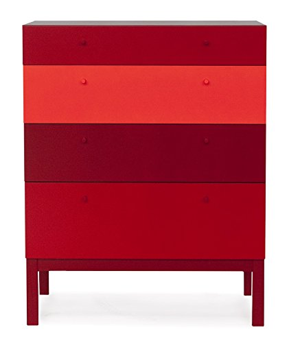 Tenzo 1971-827 Color Kommode, Holz, rot, 45 x 79 x 100 cm