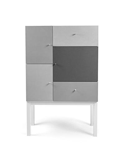 Tenzo 1972-412 Color Designer Schrank Holz, grau mix / weiß, 36 x 79 x 123 cm