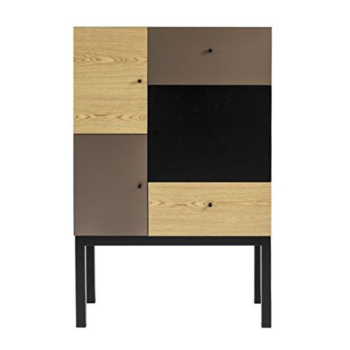 Tenzo 1972-888 Color Designer Schrank, 123 x 79 x 36 cm, eiche / bronze / schwarz