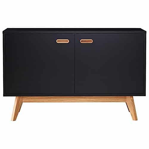 Tenzo 2172-024 BESS Designer Sideboard, lackiert, matt, Untergestell massiv, 72 x 114 x 43 cm, schwarz / eiche, (HxBxT)