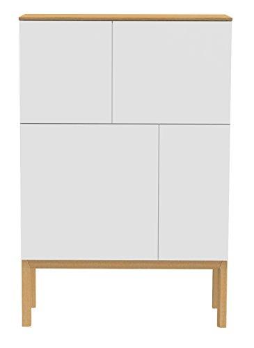 Tenzo 2276-454 Patch Designer Sideboard, Schrank, lackiert, Matt, Topplatte furniert, Untergestell massiv, 138 x 92 x 40 cm, weiß / eiche