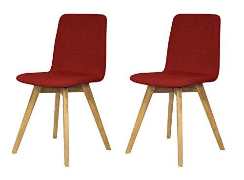 Tenzo 3371-228 Tequila 2-er set Designer Stühle Mia, 83 x 44 x 50 cm, rot / eiche
