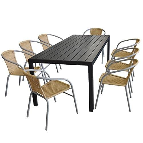 Terrassenmbel-Set-Aluminium-Tisch-205x90cm-mit-Polywood-Tischplatte-in-Schwarz-8x-stapelbare-Bistrosthle-mit-Rattanbespannung-in-Beige-0